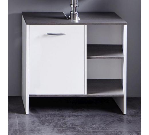 WASCHBECKENUNTERSCHRANK 60/55/28 cm - Silberfarben/Weiß, Design, Holzwerkstoff/Kunststoff (60/55/28cm) - Xora