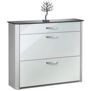 SCHUHSCHRANK Alufarben, Silberfarben, Weiß - Chromfarben/Silberfarben, Design, Glas/Metall (117/97/34cm) - Moderano