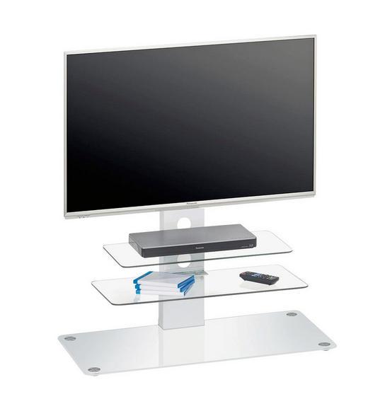 TV-ELEMENT Weiß - Alufarben/Weiß, Design, Glas/Metall (90/104/40cm)