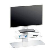 TV-ELEMENT - bela/barve aluminija, Design, kovina/steklo (90/104/40cm) - NOVEL