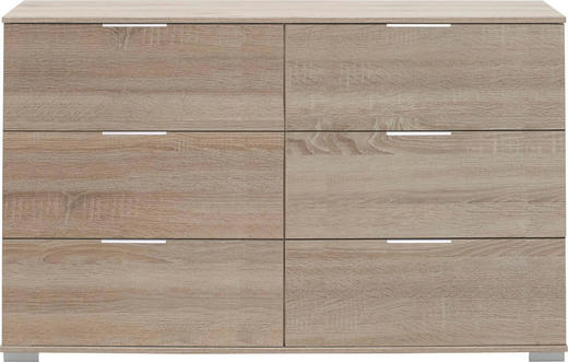 KOMMODE Eichefarben - Chromfarben/Eichefarben, Design, Kunststoff/Metall (130/83/41cm) - CARRYHOME