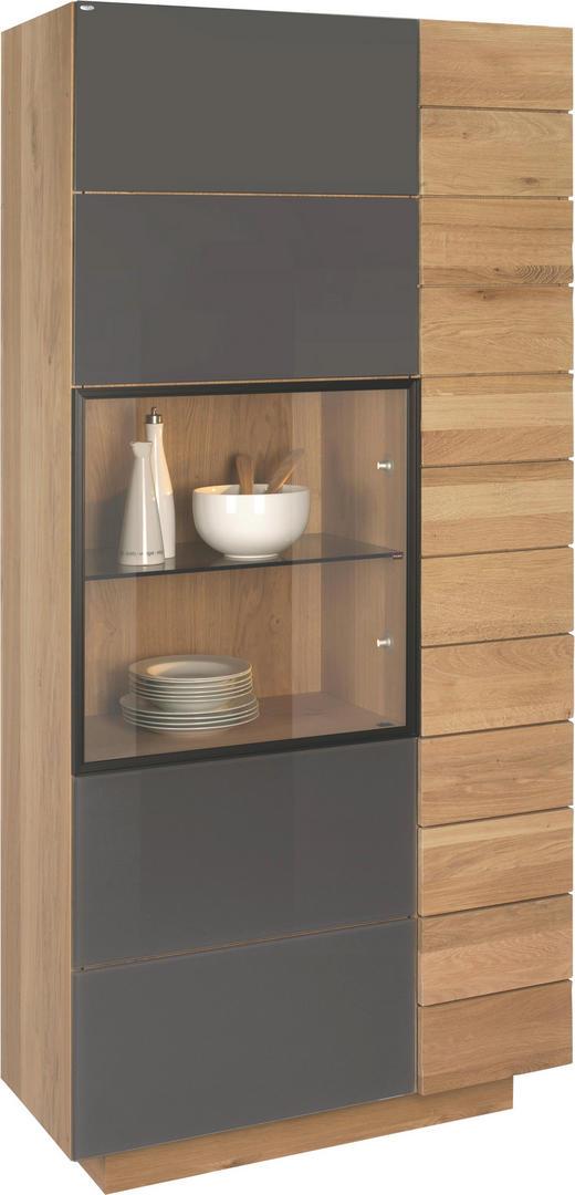 VITRINE Wildeiche massiv, mehrschichtige Massivholzplatte (Tischlerplatte) Eichefarben - Eichefarben, Design, Glas/Holz (96/202/42,5cm) - VOGLAUER