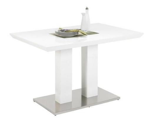 JÍDELNÍ STŮL, barvy nerez oceli, bílá - bílá/barvy nerez oceli, Design, kov/dřevěný materiál (120/80/76cm)