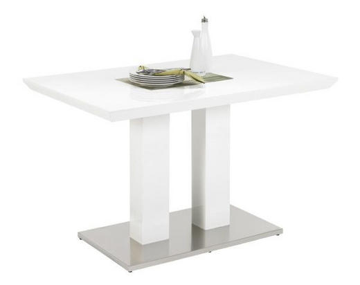 JÍDELNÍ STŮL, bílá, barvy nerez oceli - bílá/barvy nerez oceli, Design, kov/kompozitní dřevo (120/80/76cm)
