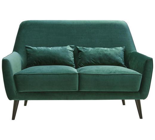 DVOUMÍSTNÁ POHOVKA, textil, tmavě zelená - černá/tmavě zelená, Trend, dřevo/textil (135/86/80cm) - Carryhome
