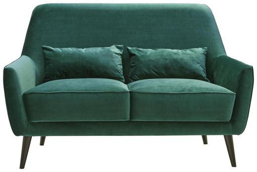 ZWEISITZER-SOFA in Textil Dunkelgrün - Dunkelgrün/Schwarz, Trend, Holz/Textil (135/86/80cm) - Carryhome