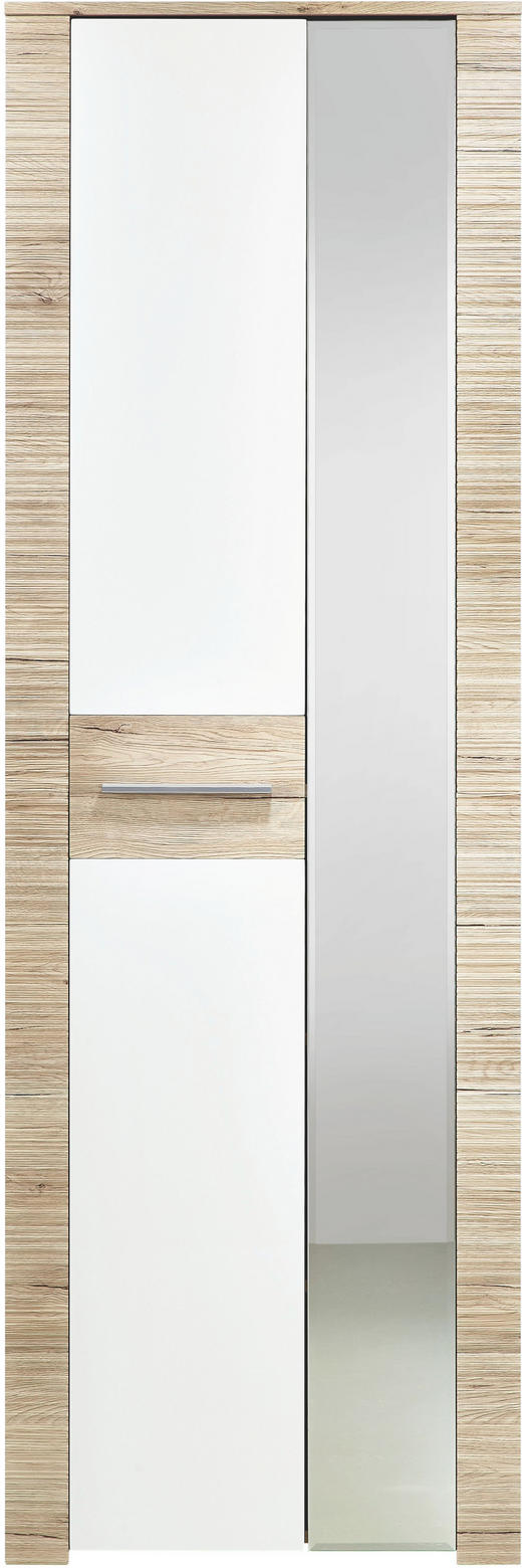 GARDEROBENSCHRANK Eichefarben, Weiß - Eichefarben/Silberfarben, KONVENTIONELL, Holzwerkstoff/Kunststoff (65/198/35cm) - XORA