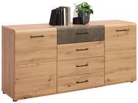 SIDEBOARD 165/79/40 cm  - Eichefarben/Schwarz, Design, Holzwerkstoff/Metall (165/79/40cm) - Voleo