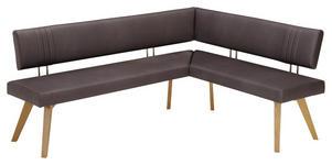ECKBANK Mikrofaser Wildeiche massiv Eichefarben, Dunkelbraun  - Eichefarben/Dunkelbraun, Design, Holz/Textil (200/160cm) - Venda