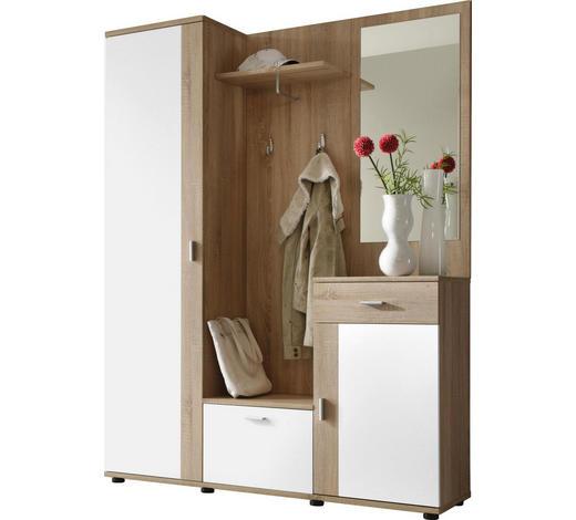 ŠATNA, bílá, Sonoma dub - bílá/Sonoma dub, Konvenční, kompozitní dřevo (145/188/30cm)