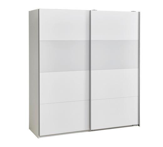 SCHWEBETÜRENSCHRANK 2-türig Weiß - Alufarben/Weiß, Design, Glas/Holzwerkstoff (179/198/64cm) - Carryhome
