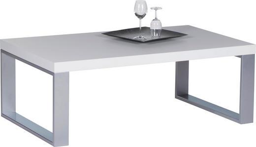 COUCHTISCH rechteckig Edelstahlfarben, Weiß - Edelstahlfarben/Weiß, Design, Metall (115/70/43cm) - Carryhome