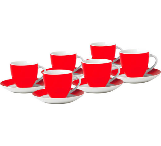 Tassenset 6 Teilig Keramik Porzellan Rot Weiß Online Kaufen Xxxlutz