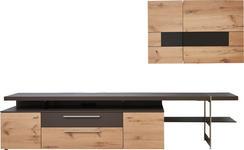 WOHNWAND Balkeneiche furniert, Hartholz Braun, Eichefarben - Edelstahlfarben/Eichefarben, Design, Glas/Holz (295/185/55,7cm) - DIETER KNOLL