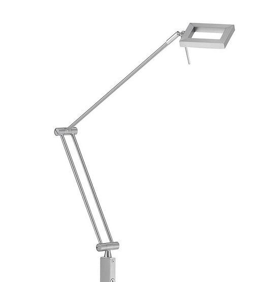 BOGENLEUCHTE - Nickelfarben, Design, Kunststoff/Metall (56/18/166cm)