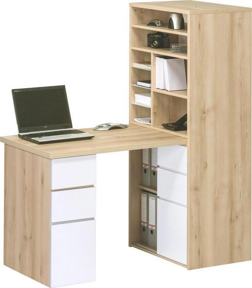 Kompakt Büro Buchefarben, Weiß - Buchefarben/Weiß, KONVENTIONELL, Glas (65/150/170cm)
