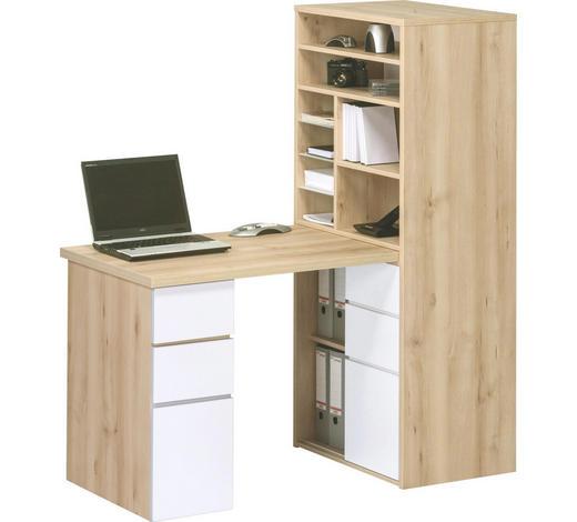 MINI-OFFICE - Buchefarben/Weiß, KONVENTIONELL, Glas/Holzwerkstoff (65/150/170cm)