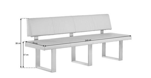 SITZBANK Echtleder Sandfarben  - Sandfarben/Edelstahlfarben, Design, Leder/Metall (240cm) - Valnatura
