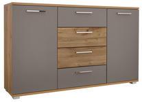 KOMMODE Grau, Eichefarben  - Chromfarben/Eichefarben, Design, Holzwerkstoff/Kunststoff (150/90/38cm) - Xora