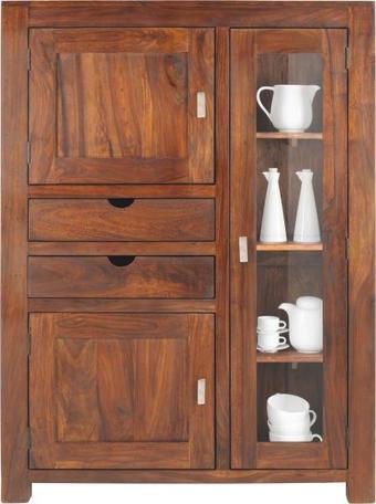 KOMODA HIGHBOARD - barvy stříbra/barvy sheesham, Lifestyle, kov/dřevo (110/150/43cm) - LANDSCAPE