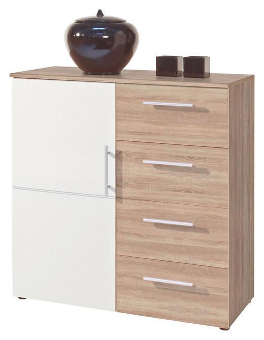 KOMMODE Eichefarben, Weiß - Eichefarben/Silberfarben, Design, Holzwerkstoff/Kunststoff (88/91/38cm) - Carryhome