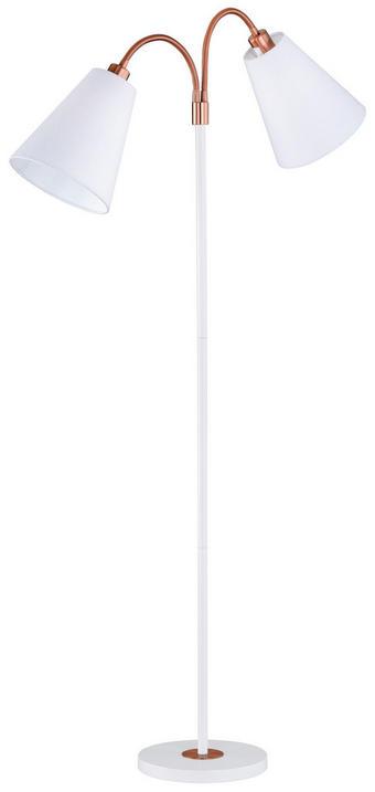 LAMPA STOJACÍ - bílá/bronzová, Design, kov/textil (170cm)