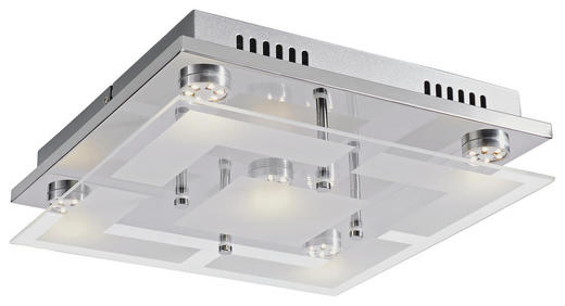 LED-DECKENLEUCHTE - Chromfarben, Design, Glas/Metall (29/29cm) - Novel