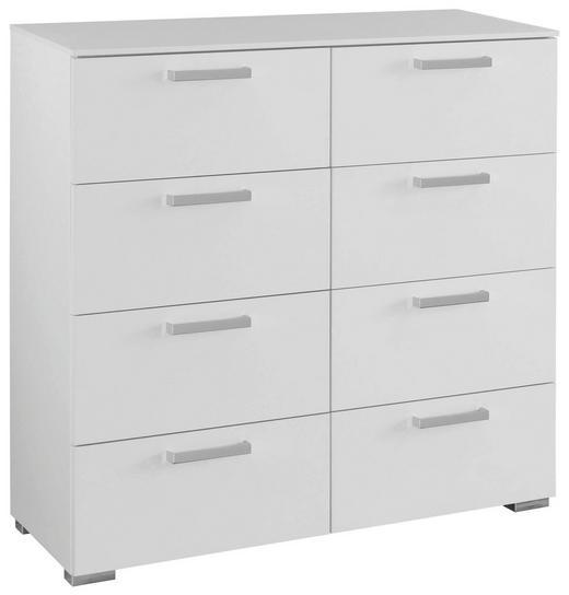 KOMMODE Weiß - Alufarben/Weiß, Design, Kunststoff/Metall (110/105/42cm) - Carryhome