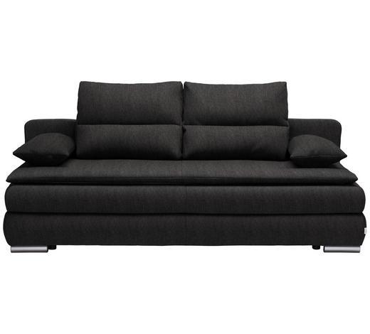 SCHLAFSOFA in Textil Dunkelgrau  - Dunkelgrau/Silberfarben, KONVENTIONELL, Kunststoff/Textil (207/94/90cm) - Venda