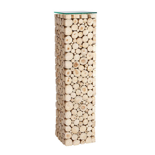 DEKOSÄULE Holz Recyclingholz, Teakholz massiv - Naturfarben, Basics, Holz (25/100/25cm) - Landscape