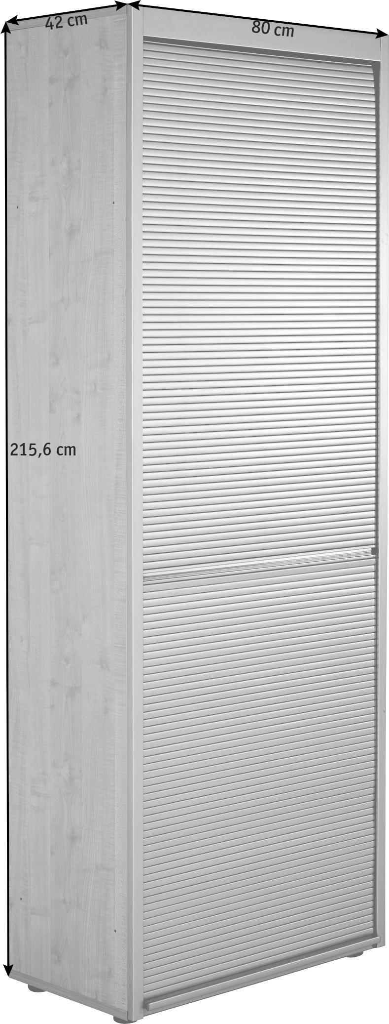 ROLLOSCHRANK Buchefarben, Silberfarben - Buchefarben/Silberfarben, KONVENTIONELL, Holzwerkstoff/Kunststoff (80/215,6/42cm)