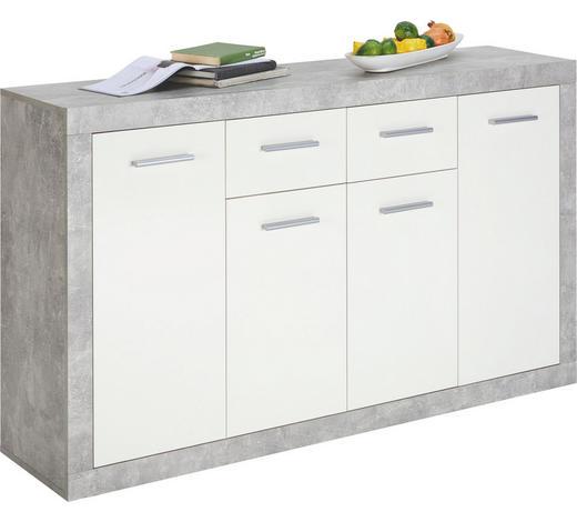 Kommode in Grau, Weiß - Silberfarben/Weiß, Design, Holzwerkstoff/Kunststoff (152/88/37cm) - Carryhome
