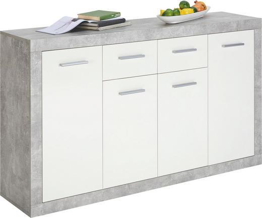 KOMODA, bela, siva - siva/bela, Design, umetna masa/leseni material (152/88/37cm) - Xora