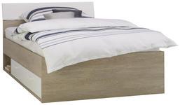BETT in Weiß, Eichefarben  - Eichefarben/Weiß, KONVENTIONELL, Holzwerkstoff (120/200cm) - Xora