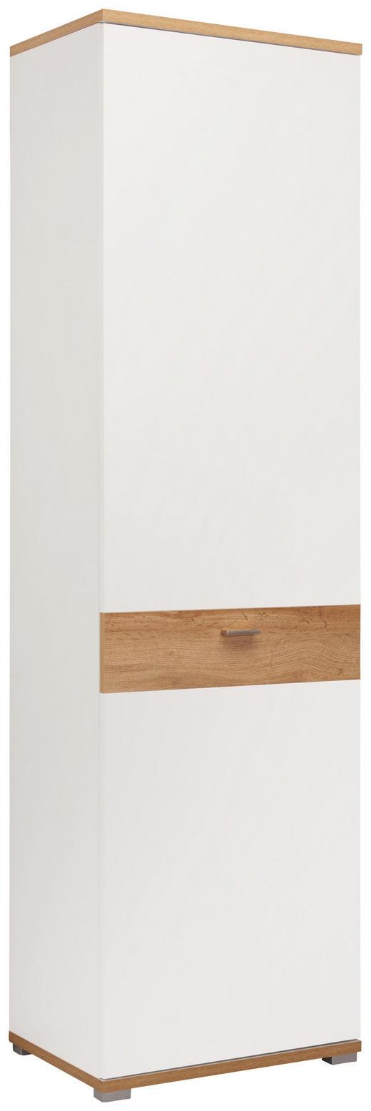 GARDEROBENSCHRANK foliert, Melamin, tiefgezogen Eichefarben, Weiß - Eichefarben/Weiß, Design, Holzwerkstoff/Metall (58/205/40cm) - Carryhome
