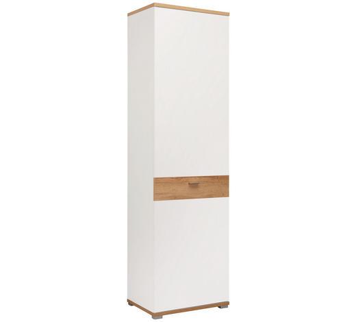 GARDEROBENSCHRANK 58/205/40 cm - Eichefarben/Weiß, Design, Holzwerkstoff/Metall (58/205/40cm) - Carryhome