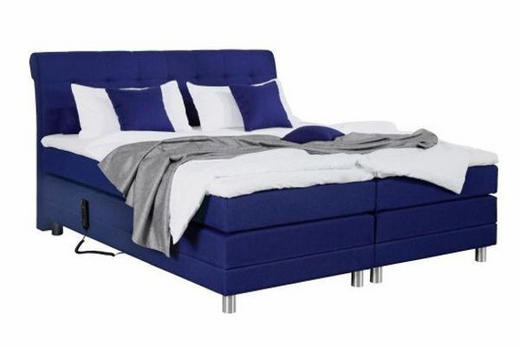 BOXSPRINGBETT 180/200 cm  INKL. Matratze, Topper - Blau/Silberfarben, Design, Textil/Metall (180/200cm) - Boxxx