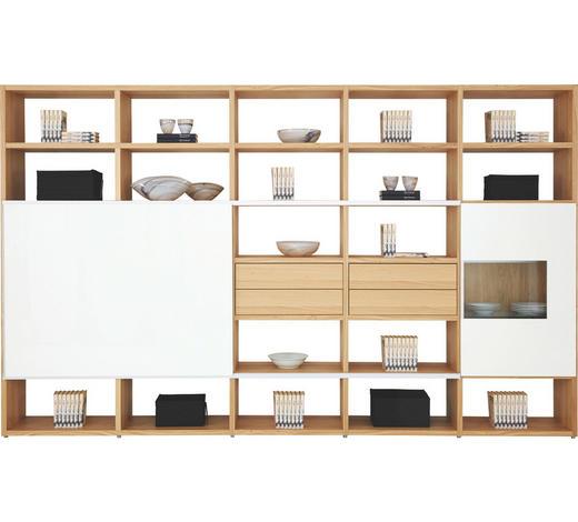 WOHNWAND in Naturfarben, Weiß  - Naturfarben/Weiß, Design, Glas/Holz (353/216/40cm) - Now by Hülsta