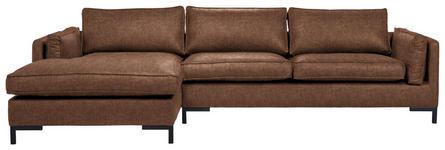 WOHNLANDSCHAFT in Textil Braun  - Schwarz/Braun, Design, Textil/Metall (160/295cm) - Hom`in