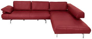 WOHNLANDSCHAFT in Leder Rot  - Chromfarben/Rot, Design, Leder/Metall (305/254cm) - Dieter Knoll