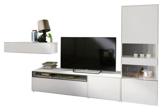 WOHNWAND Grau, Weiß - Weiß/Grau, Design, Holzwerkstoff (334/162/44,8cm) - Hülsta - Now