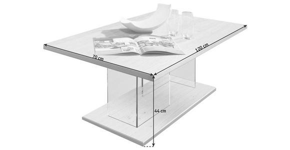COUCHTISCH in Glas, Holz, Holzwerkstoff 120/70/44 cm - Eichefarben/Nickelfarben, KONVENTIONELL, Glas/Holz (120/70/44cm) - Voleo