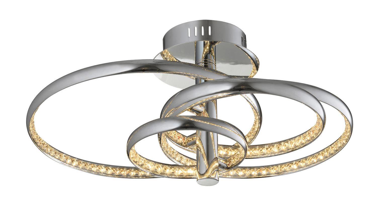 LED-DECKENLEUCHTE - Chromfarben, Design, Glas/Metall (57/47/26cm) - AMBIENTE