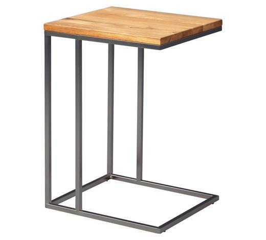 BEISTELLTISCH in Eichefarben, Edelstahlfarben - Edelstahlfarben/Eichefarben, Design, Holz/Metall (38/62/43cm)