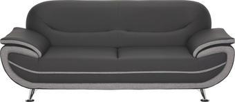 DREISITZER-SOFA Lederlook, Webstoff Grau, Schwarz - Chromfarben/Schwarz, Design, Textil/Metall (208/85/87cm) - TI`ME