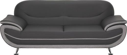 Dreisitzer Sofa Lederlook Webstoff Grau Schwarz Online Kaufen