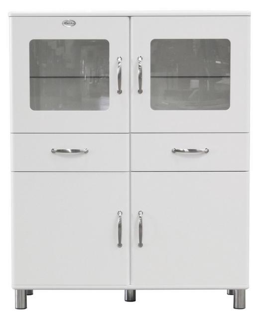 VITRINE Weiß - Weiß/Nickelfarben, Design, Glas/Holzwerkstoff (120/150/44cm) - Carryhome