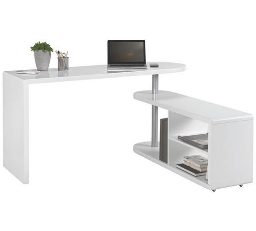 PSACÍ STŮL S REGÁLEM, bílá - bílá, Design, kompozitní dřevo (145/74,7/50cm) - Hom`in