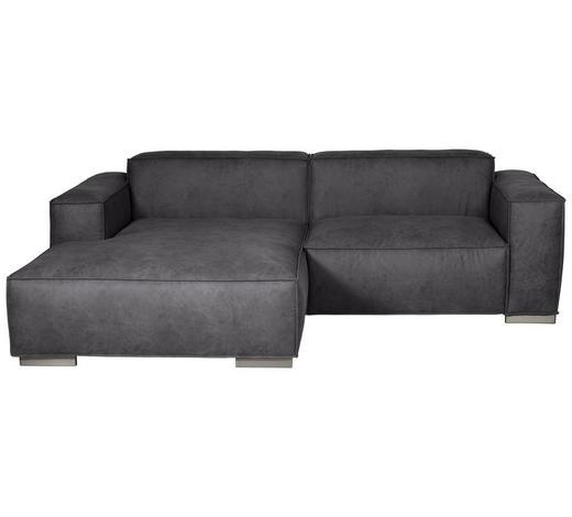 WOHNLANDSCHAFT in Textil Dunkelgrau - Dunkelgrau/Silberfarben, KONVENTIONELL, Kunststoff/Textil (168/260cm) - Carryhome