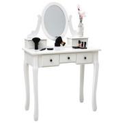 STOL ZA ŠMINKANJE bijela  - bijela/antracit, Lifestyle, staklo/drvni materijal (81/128,5/41cm) - Landscape